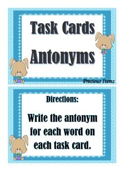 Antonyms - Task Cards