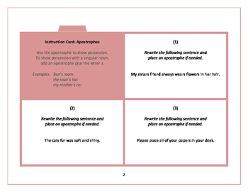Task Cards:  Apostrophes
