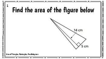 Task Cards: Area of Triangles, Rectangles and Parallelograms