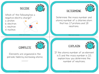 Atoms and the Periodic Table: Physical Science Task Cards