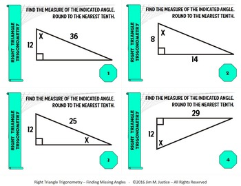 Task Cards BASIC - Right Triangle Trigonometry - Finding Missing Angles