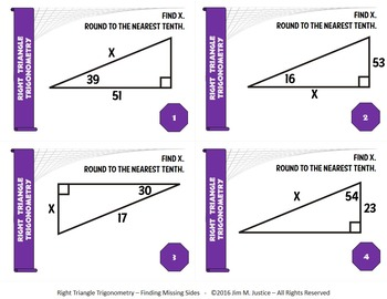Task Cards BASIC - Right Triangle Trigonometry - Finding Missing Sides