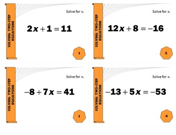 Task Cards BASIC - Solving 2-Step Equations