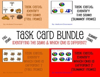 Task Cards BUNDLE (Summer and Fall) Identifying Same and Different