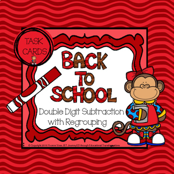 Task Cards Back to School Monkey Double Digit Subtraction