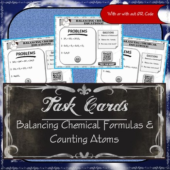 Task Cards ( Balancing Chemical Equations and Counting Atoms)