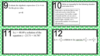 Task Cards - Balancing Equations Review
