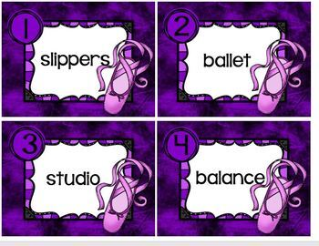 Task Cards Ballet Vocabulary