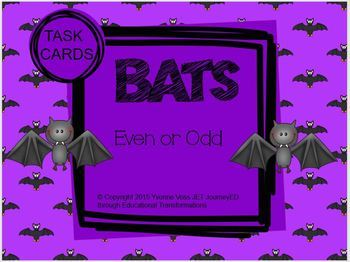 Task Cards Bats Even or Odd