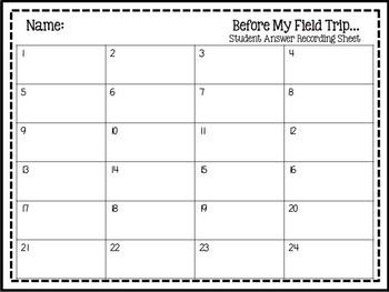 Field Trip Task Cards