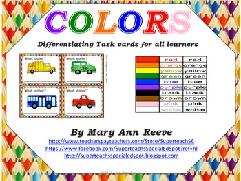 Task Cards: COLOR RECOGNITION and COLOR NAMES