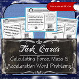 Task Cards - Calculating Force, Mass & Acceleration (Word Problems)