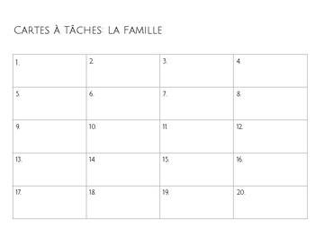 Task Cards - Cartes à Tâches - La famille - Family