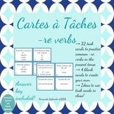 Task Cards - Cartes à Tâches - re verbs present tense