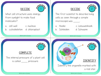 Cells: Structure and Function - Life Science Task Cards