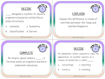 Change Over Time & Classification - Life Science Task Cards