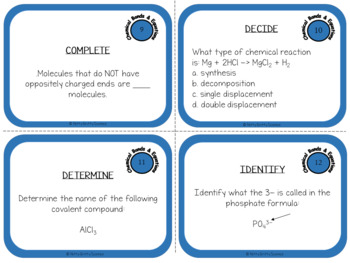 Chemical Bonds and Equations: Physical Science Task Cards