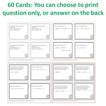Chemistry Task Cards Balancing Chemical Equations