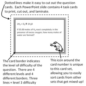 Chemistry Task Cards Stoichiometry and Mole Problems