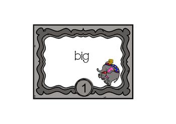 Task Cards Circus Themed Elephant Vocabulary Station