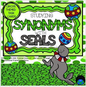 Task Cards Circus Themed Studying Synonyms with Seals