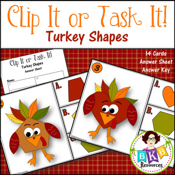 Task Cards ● Clip It or Task It Turkey Shapes ● Shapes ●Clip Cards● Math Centers