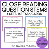 Task Cards: Close Reading Question Stems for 3rd - 6th Grade