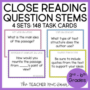 Task Cards: Close Reading Question Stems for 3rd - 6th Grade   Close Reading