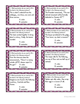 Task Cards:  Colons and Semicolons