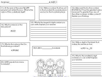 4.NBT.1 through 4.NBT.6 Task Cards, Worksheet and Coloring pages