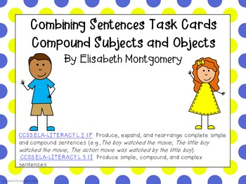Task Cards Combining Sentences Subjects and Objects
