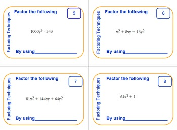 Task Cards - Common Factoring Techniques of Polynomials