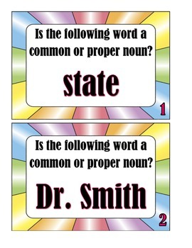 Task Cards:  Common or Proper Noun?