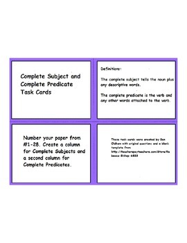 Back to School Review of Subjects and Predicates