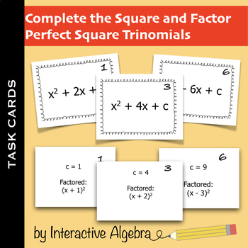 Task Cards: Complete the Square