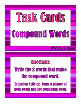 Compound Words - Task Cards