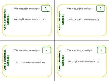 Task Cards: Conic Sections - Ellipses