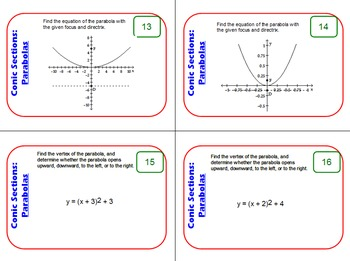 Task Cards: Conic Sections - Parabolas