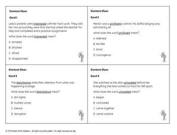 Context Clue Task Cards (Direct, Synonym, Antonym, Inference): Grades 3-6