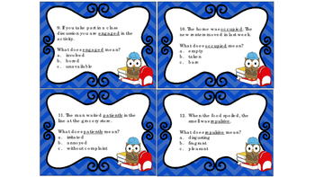 Task Cards Context Clues Set # 3 Determining the Meaning of Unknown Words