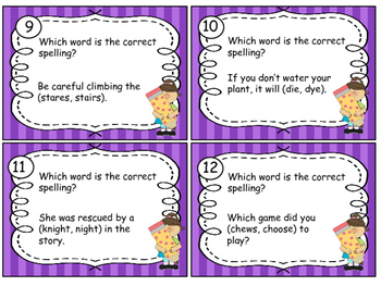 Task Cards Correct Use of Frequently Confused Words; Homophones; Set # 3