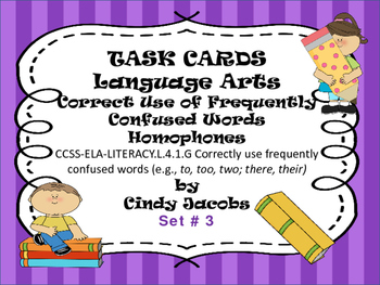Task Cards Correct Use of Frequently Confused Words; Homop