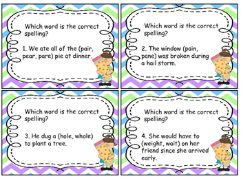 Task Cards Correct Use of Frequently Misused Words; Homophones; Set # 2