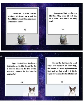 Task Cards Cosmic Cat Word Problems