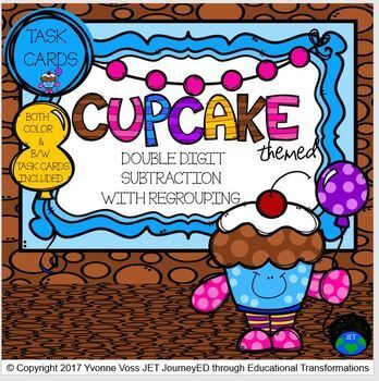 Task Cards Cupcake Double Digit Subtraction with Regrouping