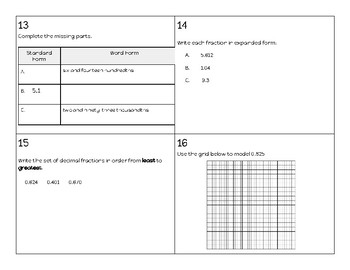 Task Cards - Decimal Review (Reading/Writing/Rounding)