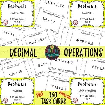 Free Math Task Cards   Teachers Pay Teachers
