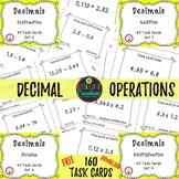 Free Download Add & Subtract Decimals Multiply & Divide Decimals 160 Task Cards