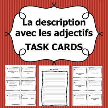 Task Cards - Description with Adjectives (French)