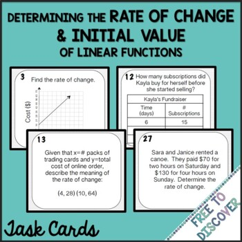Rate of Change and Initial Value Task Cards